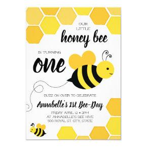 Honey Bee Girls First Birthday Invitation