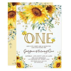 Honey Bee Sunflower 1st Birthday Summer Floral Invitation
