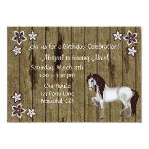 Horse and Flowers Birthday Invitation ~ Girls