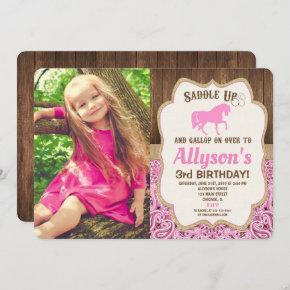 Horse birthday girl pink gold rustic photo invitation