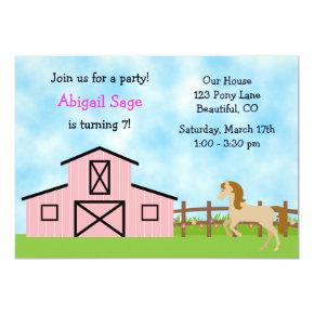 Horse Birthday Invitation for Girls