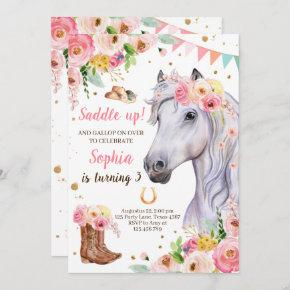 Horse Birthday Invite Girl Cowgirl Pink Floral