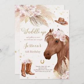Horse Birthday Party Bohemian Cowgirl Birthday Inv Invitation