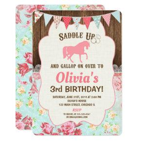 Horse cowgirl birthday invitation girl floral