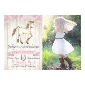 Horse Cowgirl Girls Pony Photo Birthday Party Invitation