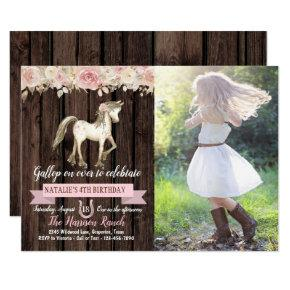 Horse Cowgirl Photo Girl Pony Birthday Party Invitation