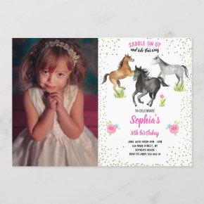 Horse Girl Birthday Invite Pink Floral with Photo