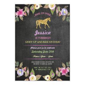 Horse Riding Party Invite Pony Chalk Invitations