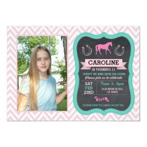 Horse Riding Photo Pony Pink Invitation Invite