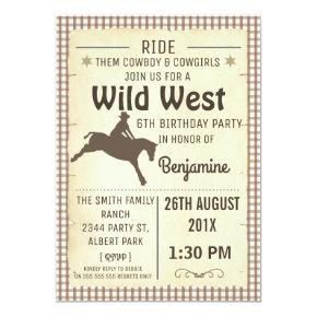 Horse Silhouette Wild West Birthday Invitation