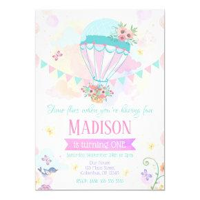 Hot Air Balloon 1st Birthday Invitations