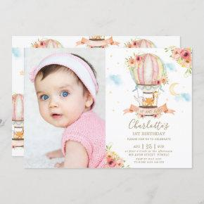Hot Air Balloon 1st Birthday Jungle Animals Photo Invitation