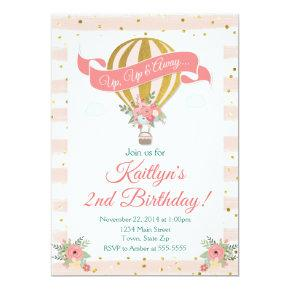 Hot Air Balloon Birthday Invitation, Up Up & Away Invitation