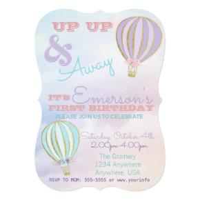 Hot air balloon, up up & away birthday invitation