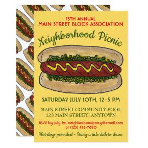 Hot Dog Neighborhood Reunion Picnic Cookout Party Invitations