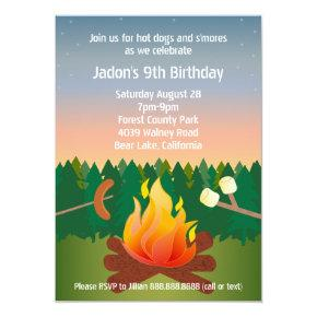 Hot Dogs and Smores Campfire Birthday Party Invitation