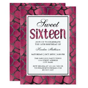 Hot Pink Animal Print Sweet Sixteen Birthday Party Invitation