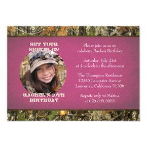 Hot Pink Camo Photo Birthday Invitation