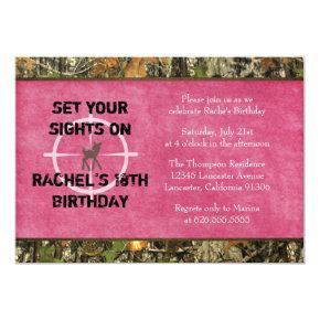 Hot Pink Camo Photo Birthday Invitation - funny