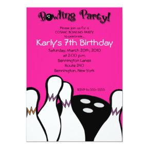 HOT PINK Cosmic Bowling Birthday Invitation