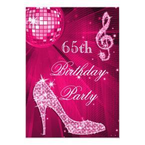 Hot Pink Disco Ball Sparkle Heels 65th Birthday Invitations