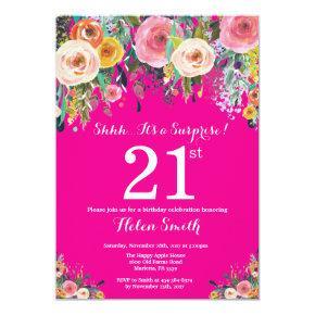 Hot Pink Floral Surprise 21st Birthday Invitation
