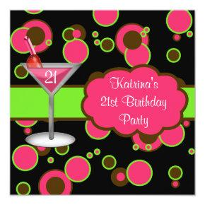 Hot Pink Martini 21st Birthday Party Invitations