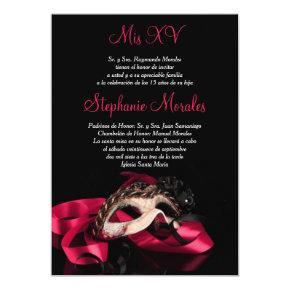Hot Pink Masquerade Quinceanera Invitation