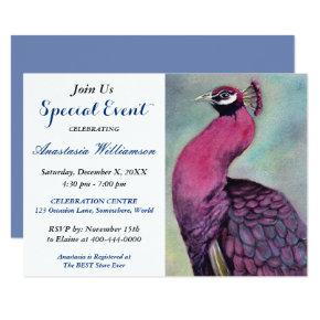 HOT PINK PEACOCK PARTY EVENT INVITE