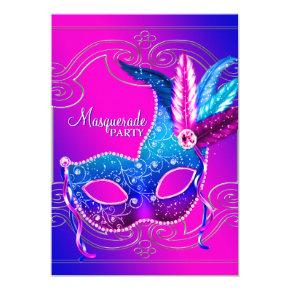 Hot Pink Purple Masquerade Party Card