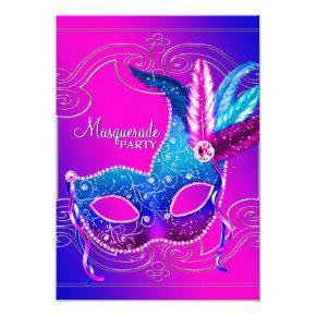 Hot Pink Purple Masquerade Party Invitation