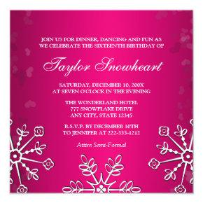 HOT PINK SNOWFLAKE SWEET SIXTEEN BIRTHDAY INVITATION