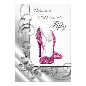 Hot Pink Stepping Into 50 Birthday Party Invitation