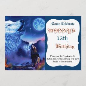 Howlin wolf - white wolf - wolf art - snow wolf invitation