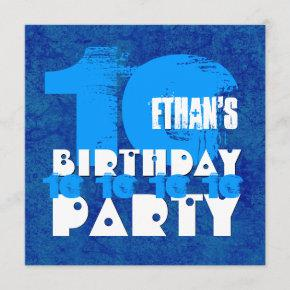 HUES of BLUE 10th Birthday Party 10 Year Old V02A Invitation