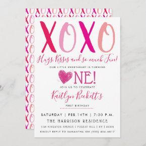 Hugs & Kisses (XOXO) Valentine's Day 1st Birthday Invitation