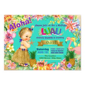 Hula Girl Flamingo Hawaiian Luau Birthday Party Invitations
