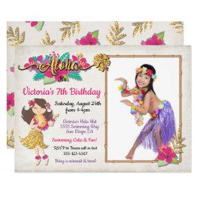 Hula Girl Tropical Birthday Photo Invitation