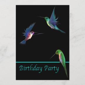 Hummingbirds Birthday Party Invitation