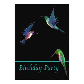 Hummingbirds Birthday Party Invitation