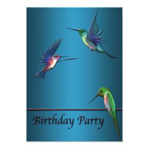 Hummingbirds Birthday Party Invitation Template