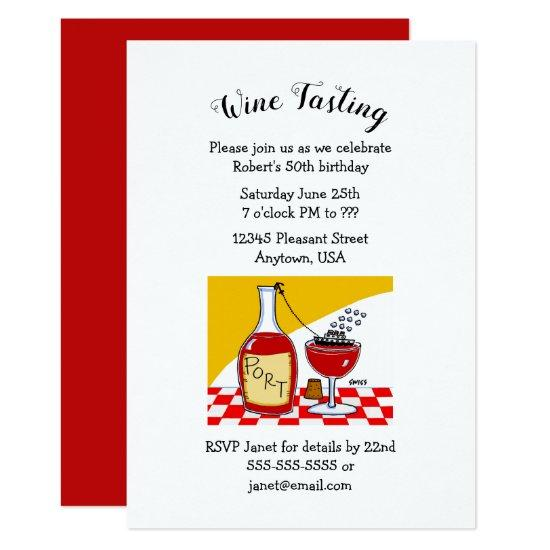 Humorous Port Wine Birthday Party Invitations Candied Clouds