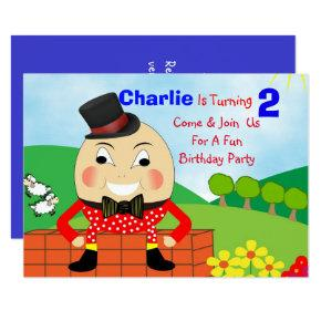Humpty Dumpty Themed Kids Birthday Party Editable Invitation
