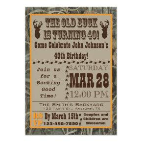 Hunting 40th Birthday Invitation with Camo