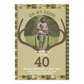 Hunting Men's Camo Deer Antlers Birthday Card