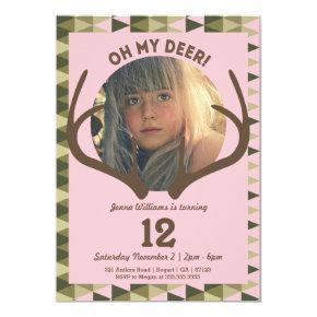 Hunting Pink Camo Girl's Antlers Birthday Invitation