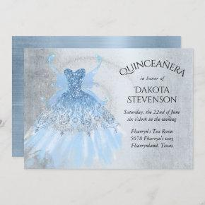 Ice Blue Iridescent Pixie Wing Gown | Quinceanera Invitation