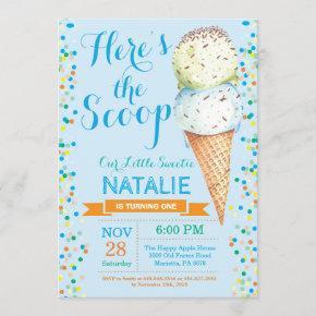 Ice Cream Birthday Invitation Summer