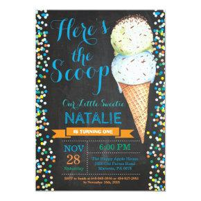 Ice Cream Birthday Invitation Summer Chalkboard