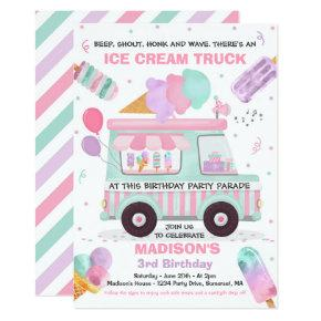 Ice Cream Birthday Party Drive By Birthday Parade Invitation